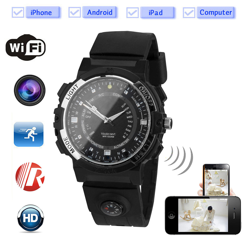 Foxwear Wireless Smart Wifi Camera Watch Remote HD Video Monitor Sport Motion Detection Recorder Night Vision Compass Led Torch.Foxwear Wireless Smart Wifi Camera Watch Remote HD Video Monitor Sport Motion Detection Recorder Night Vision Compass Led Torch.