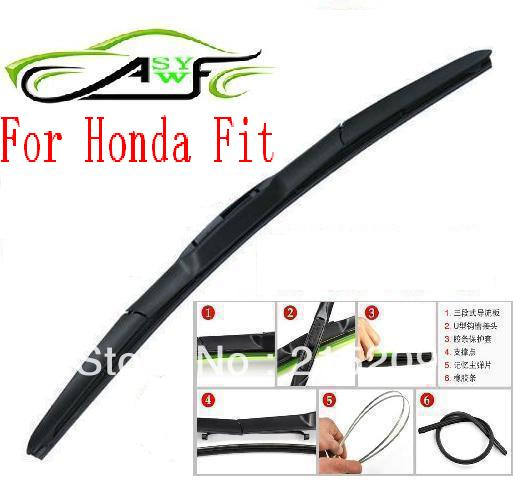 Free shipping auto car windshield wiper blade For Honda Fit Hook type wiper arm Soft Rubber WindShield Wiper Blade 2pcs/PAIR(China)
