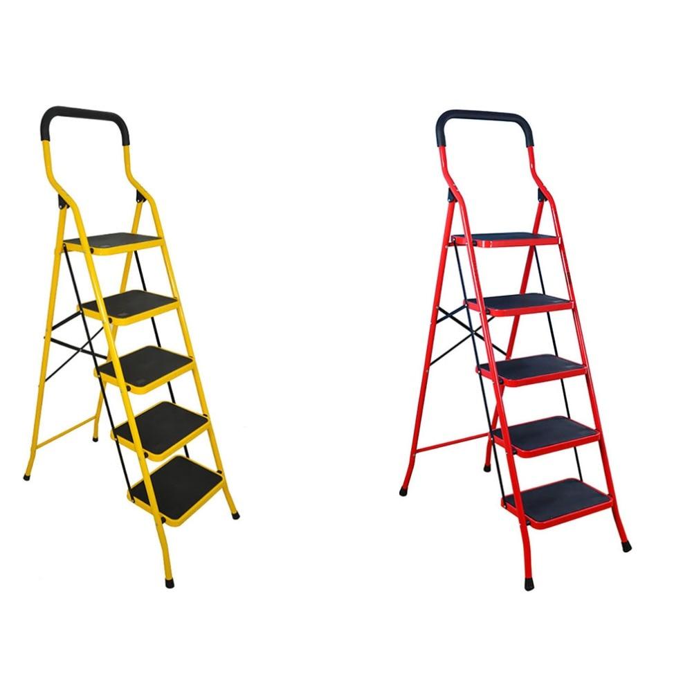 5 Steps Step Ladder Foldable Safety Ladder Non Slip For Kitchen Garage Household Step Ladder Home Furniture Steps Ladder DQTY05 цена
