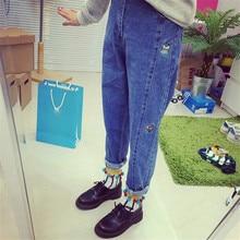 Для chic vintage плюс размер свободные bf вышивка мультфильм подъемные подол женские шаровары случайные джинсы высокой талии длинные брюки