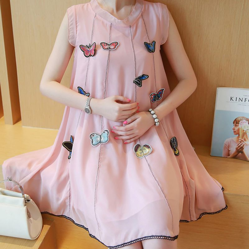 Elegant Maternity Clothes New Summer Style Sleeveless Solid Cute Butterfly Loose Dress for Pregnant Women Pregnancy Plus Size summer alluring spaghetti strap sleeveless spliced solid color dress for women