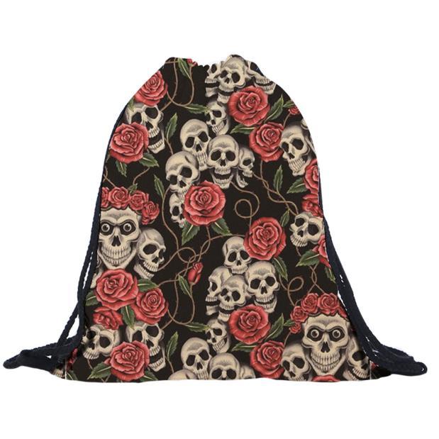 2018 Drawstring bags women men Unisex skull 3D Printing Bags super quality Mochila Feminina sac a dos men s 3d printing skull