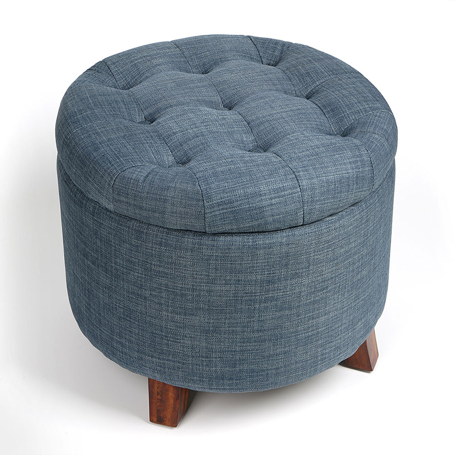 Surprising Round Soft Footstool Storage Ottoman Stool With Button Cjindustries Chair Design For Home Cjindustriesco