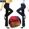 Зимние женские брюки плюс размер 4XL бархат сгустите теплый флис лоскутное офис ПР носить высокая талия flare брюки женские брюки