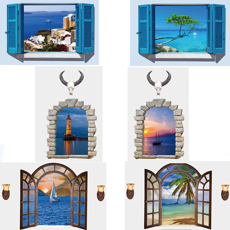 6 style brand new 3d 3d sea window scenery large large for Decor mural 3d