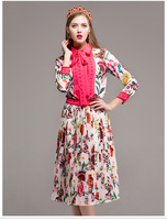 High quality 2018 early autumn lady new collar bow tie ribbon printing shirt in the long pleated half skirt fashion suit