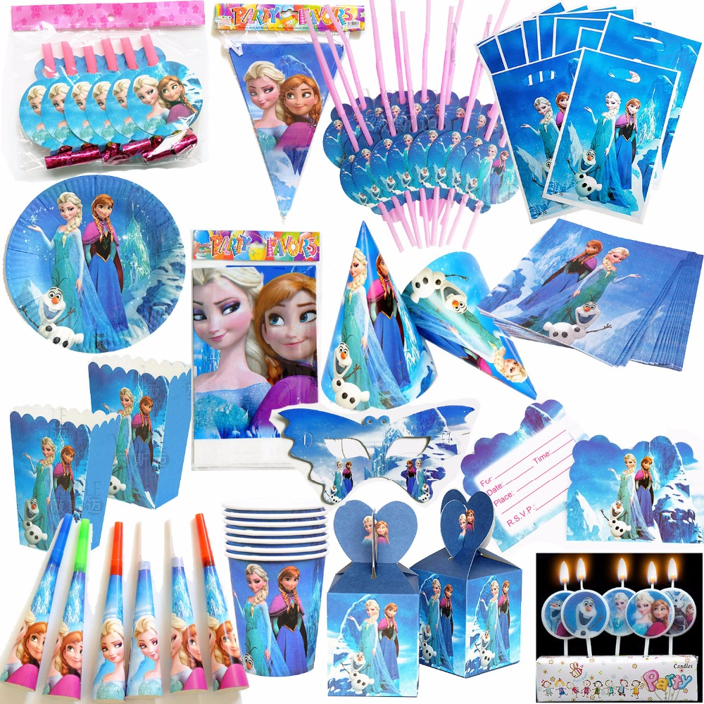 Pretty Princess Elsa Ana Olaf Tableware Paper Hat Napkins Plate Table Cloth Happy Girl Birthday Decoration