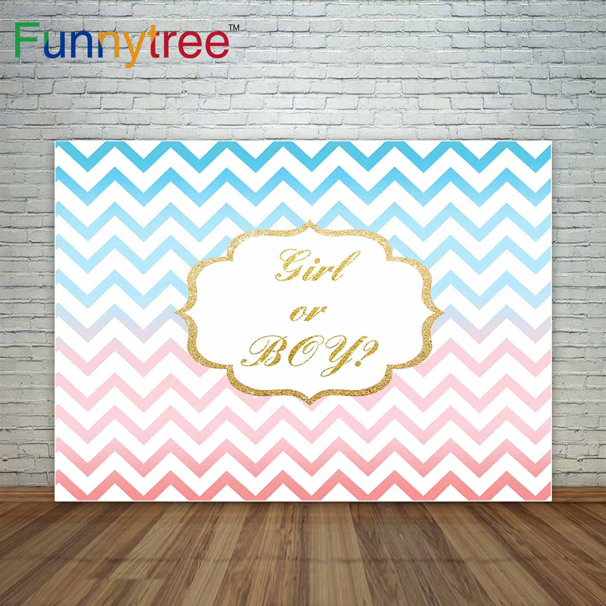 Baby Shower Reveal Party: Pastel Pink And Blue Chevron Stripes Gold Frame Baby