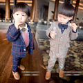 Free shipping spring children's clothing male child baby boys blazer long-sleeve plaid trousers, 2PCS set clothes boy