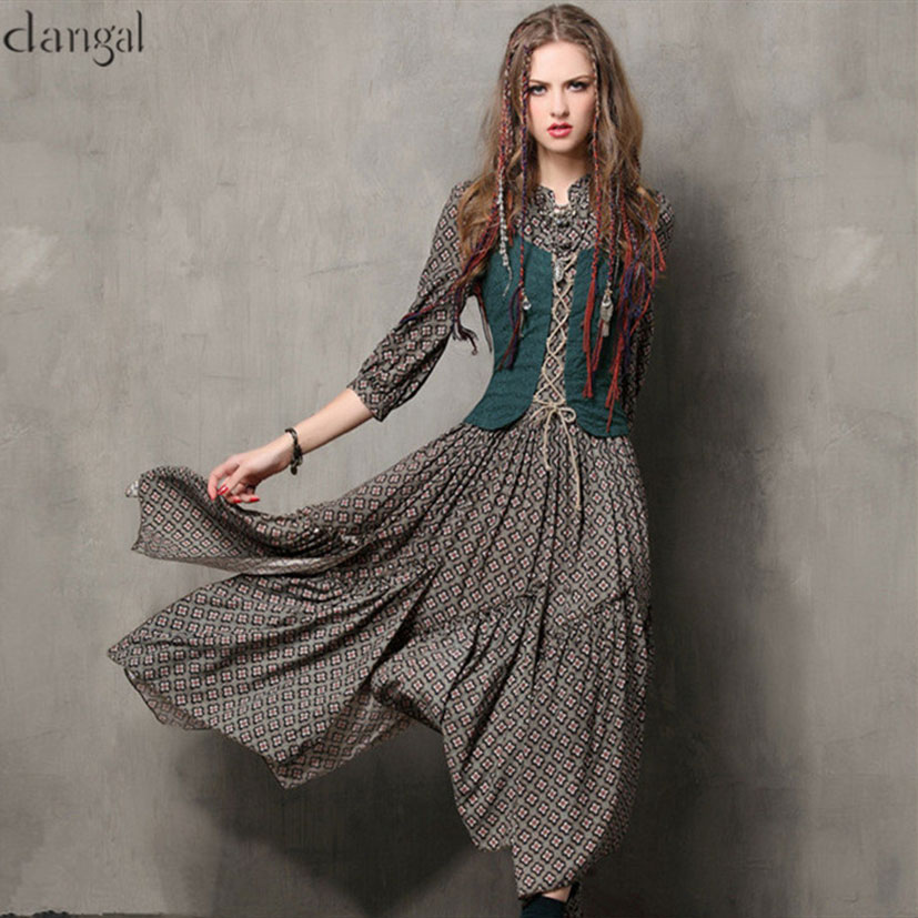 Spring Plaid Women Dress 2018 Keer Vintage Tunic Cotton Combo Bandage Dresses V-Neck Three Quarter Sleeve Maxi Vestido Feminina