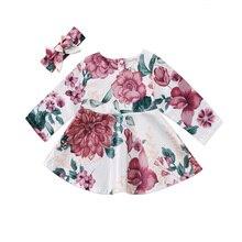 Повседневные платья с цветочным принтом для маленьких девочек; мягкое милое платье с цветочным принтом и длинными рукавами для новорожденных девочек; одежда для детей с повязкой на голову