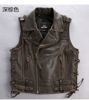 Free Shipping Genuine Cow Leather Men Vest Cool Motorbiker Mens Eur Size Vests Skull Sleeveless Leather