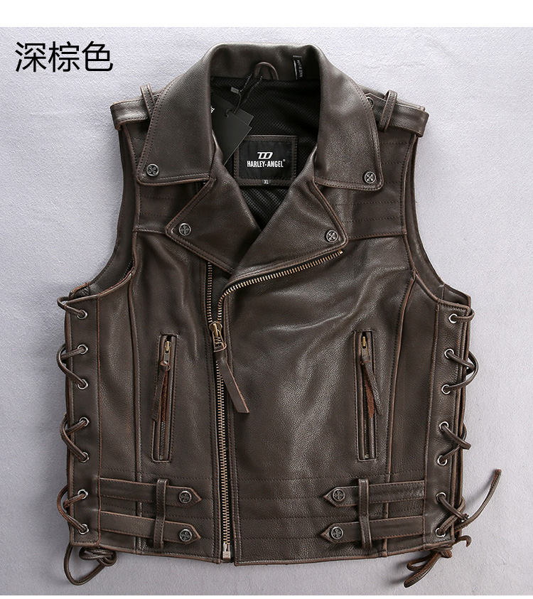 Audacious Free Shipping,genuine Cow Leather Men Vest.cool Motorbiker Mens Vests,skull Sleeveless Leather Jacket Brand Sales 2016 Style Vests & Waistcoats Men's Clothing