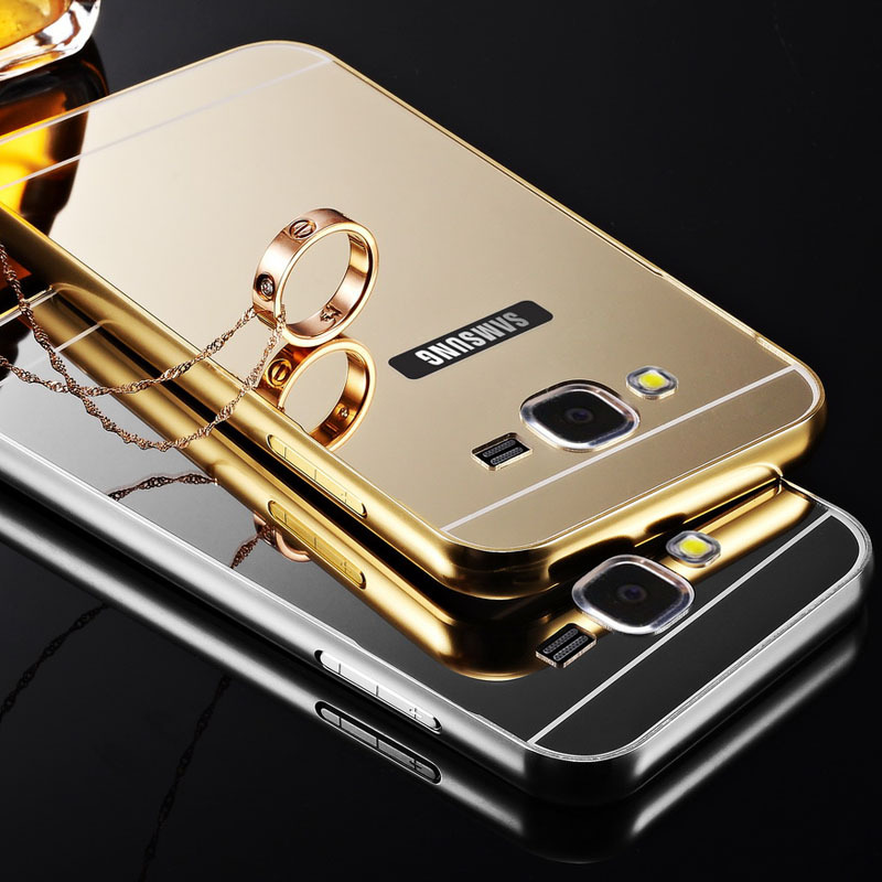 sale retailer fde92 d0536 US $6.65 |J5 Gold Plating Aluminum Metal Frame Case For Samsung Galaxy J5  Mirror Acrylic Back Cover Fundas Capa Luxury Coque Anti knock on ...