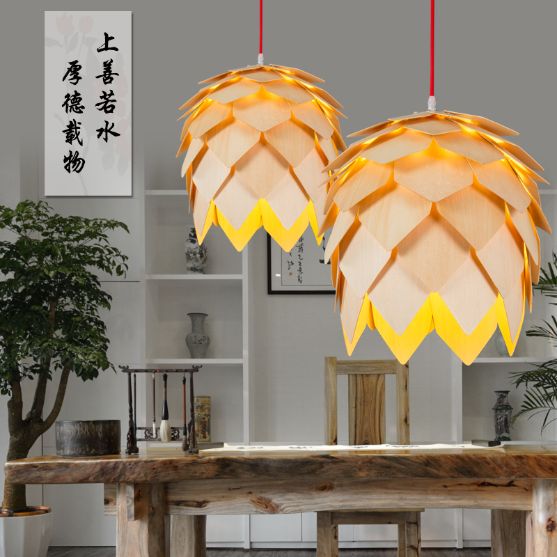 Creative design Art OAK Wooden Pinecone Pendant Lights Wood Luminaire Artichoke Lamps Dinning Room Restaurant Retro Fixtures 2016 creative design circular frame spherical science fiction elements of led lamps pendant lamps for home dinning room holet