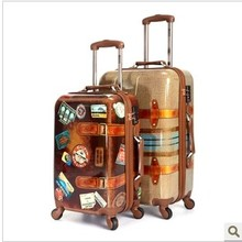 stamps luggage lovers universal wheels 20″24″inch High quality Trolley suitcase traveller case box  ABS+PC boarding bag  Retro