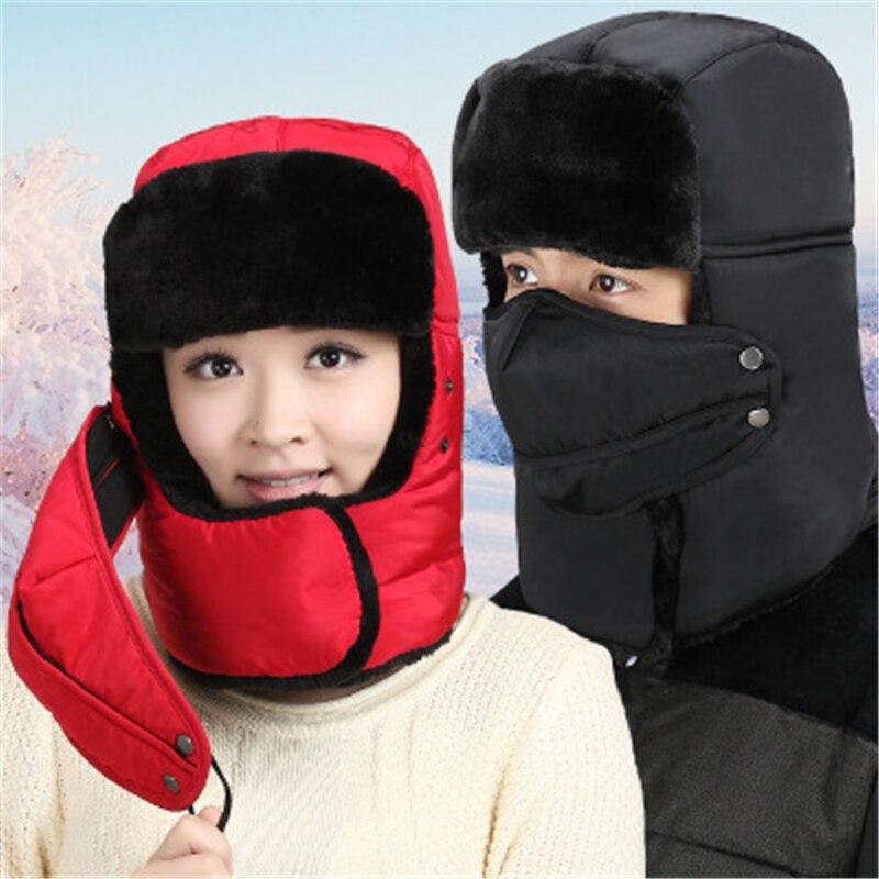 Winter Warm Earmuff Bomber Hats Gorras Scarf Men Women Russian Aviator Trooper Trapper Hat Earmuffs Ski Cap With Scarf cap with