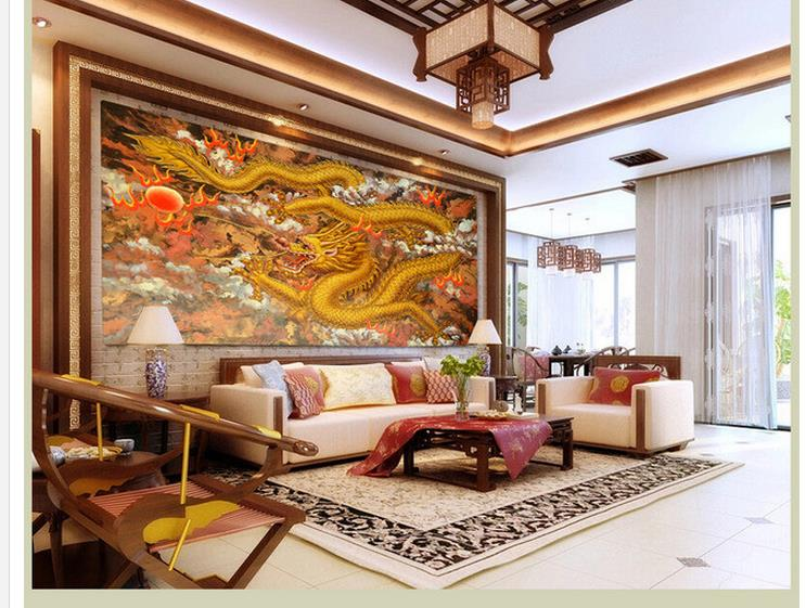 customized wallpaper for walls 3d wallpaper Relief Golden Dragon Pearl Oil Painting Background living 3d wallpaper christian cross 3d model relief figure stl format religion 3d model relief for cnc in stl file format