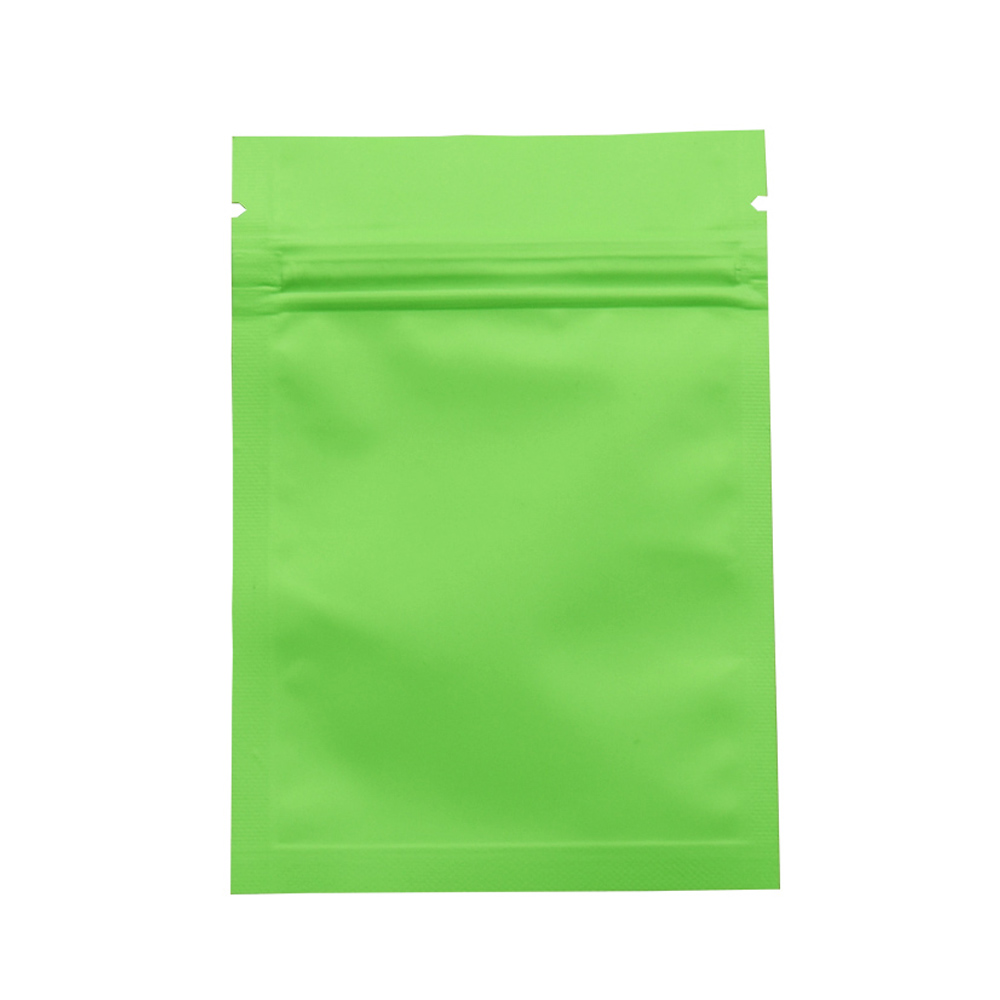 7*10cm Green Top Zipper Matte Surface Aluminum Foil Package Bag Self Seal Smell Proof Food Storage Pouches for Snacks 200pcs/lot