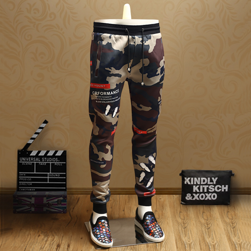 European station spring and autumn 2018 new men's youth tide printed trousers military uniform camouflage pants