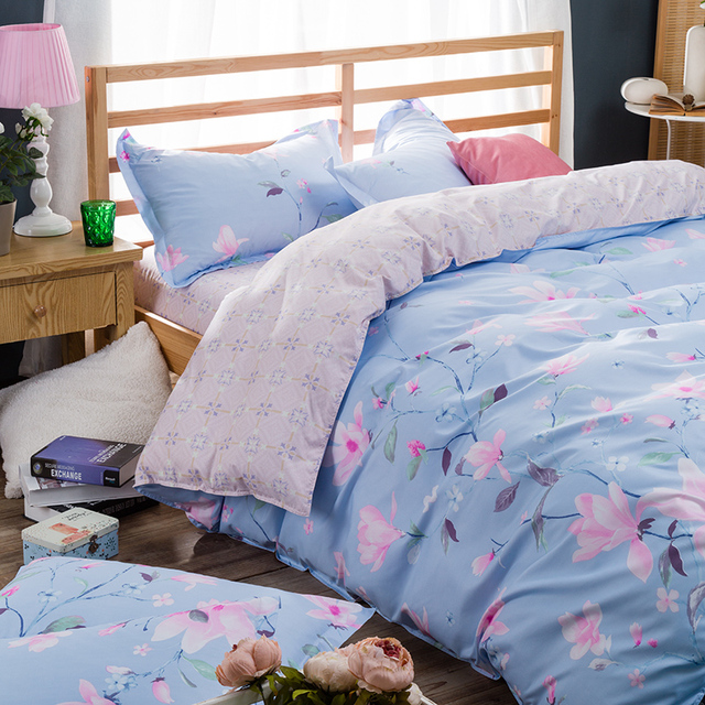 Superbe Comfortable 4pcs Extra Large Romantic Flower Pastoral Landscape Print  Pattern Bedding 4pcs Set Quilt + Bed
