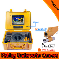 1 Set 100M Cable Underwater Fishing Camera DVR Function HD 720P 12 White LED Fish