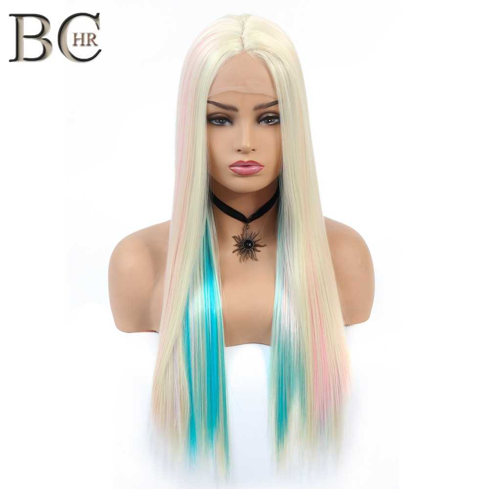 BCHR Long Straight 13*4 Lace Front Wig Synthetic Hair Fairy Princess Wig Colorful Rainbow Cosplay Ombre Wig for women