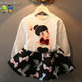 2016 Spring New Arrival Kids Clothes Beauty Girl Sets Cartoon Long-Sleeve O-neck Print Skirt Girls Clothing Sets Vetement Fille