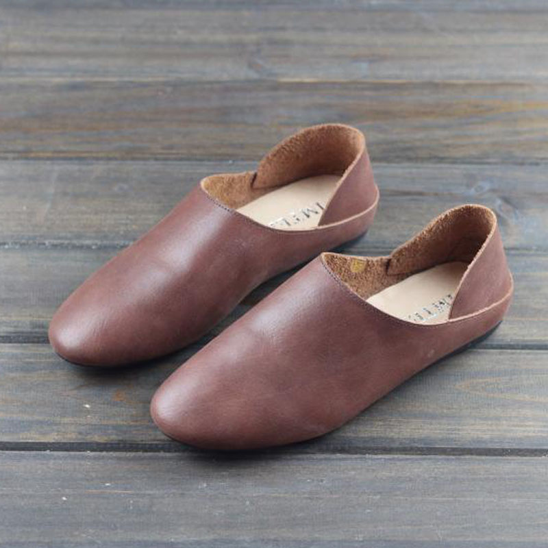 Women s Shoes Flat Round toe slip on Loafers 100 Authentic Leather ladies Flat Shoes 2019
