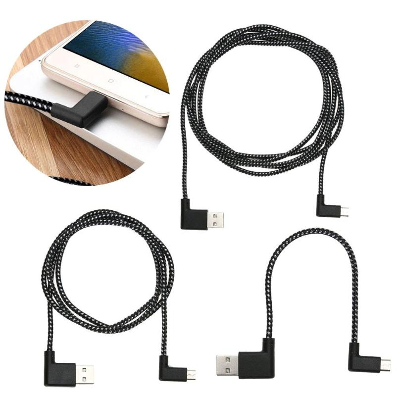 0.2/1/2m L Shape Connector Micro USB Angle 90 Degree Charging Cable Right Angle Nylon Braid Data Sync Transfer Cord Wire Line