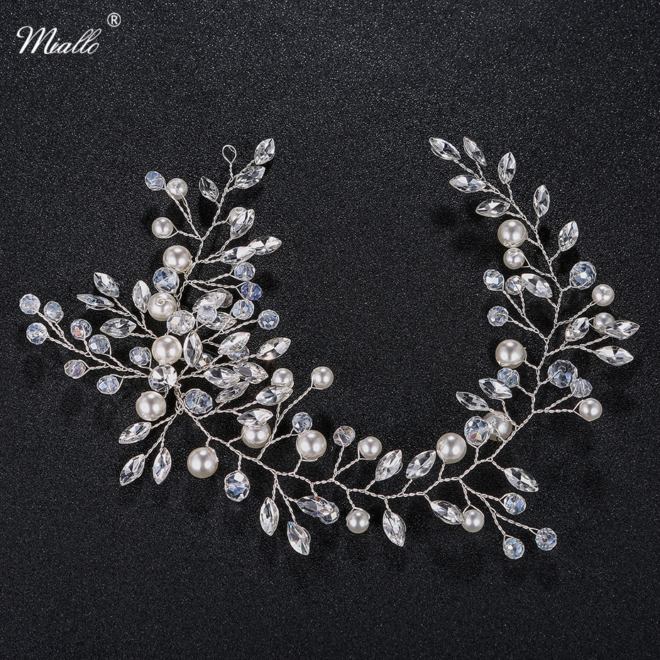 Miallo Fashion Crystal Pearls Headbands Silver Foliage Hair Jewelry Accessories Wedding Hairpieces Women Headdress HS-J4542
