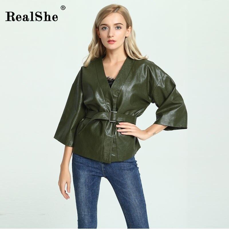 RealShe Fashion Autumn Green Leather Jacket Coat Woman Long Sleeve Basic Coat Chaqueta Outwear 2018 Female Overcoat