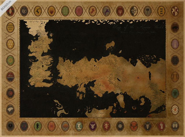 Large Size Home Decor Vintage American Tv Series Game Of Thrones Map Poster Bar Painting Retro