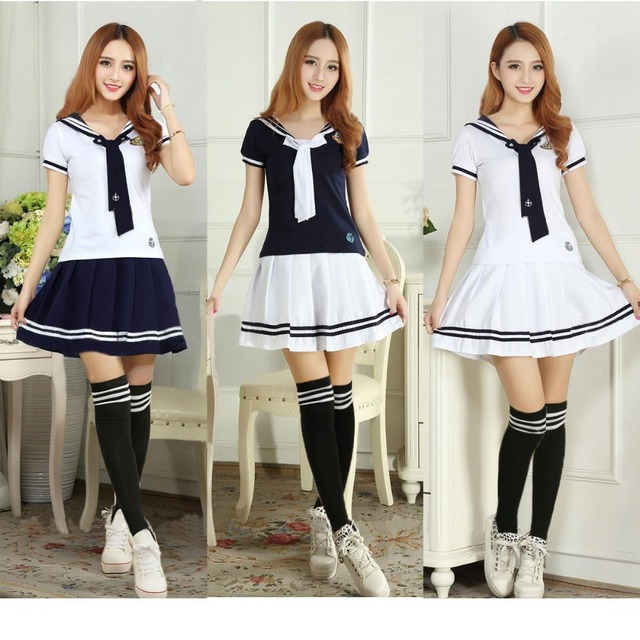 db83ab685 Free Shipping Japan Naval College Style Sailor Uniforms Naval Skirt Korea  Girls Class Student Uniform Female School Uniform Sets