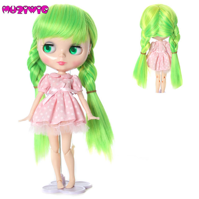High Quality Synthetic Bright Green Mixed Braided Wavy Baby Doll