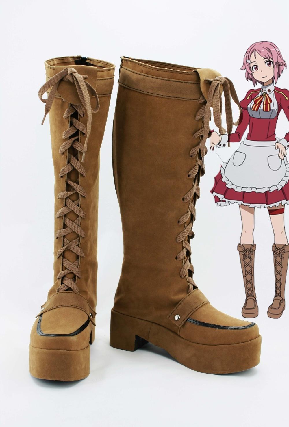 Sword Art Online Lisbeth Rika Shinozaki Cosplay Costume Shoes Boots Custom Made EU/European Size