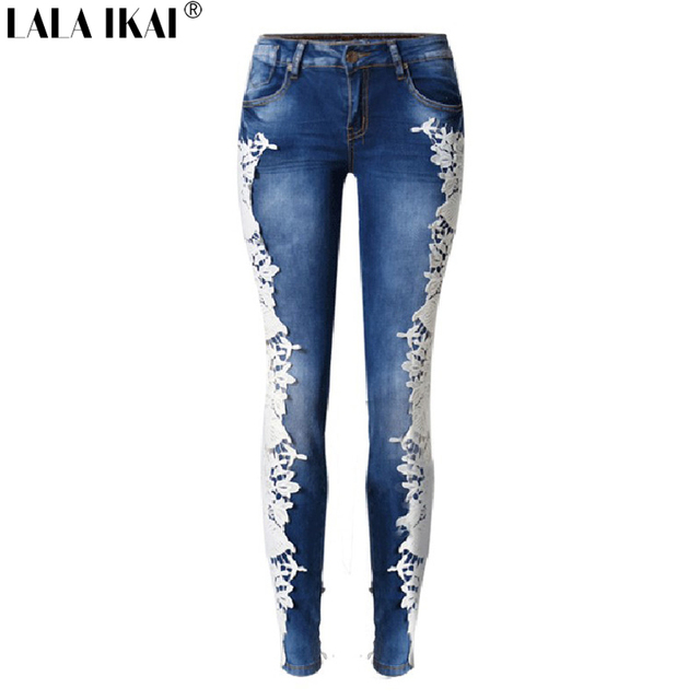 288dd3a8ecbb LALA IKAI Cotone Side Rappezzatura Del Merletto Jeans Donna Vita Bassa  Matita Signore Pantaloni In Denim