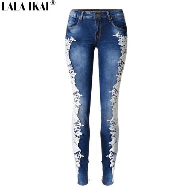 3542de77d04 LALA IKAI Cotton Side Lace Patchwork Jeans Women Low Waist Pencil Ladies  Denim Trousers Washed Dark Blue Girl Pants KWA0587-45