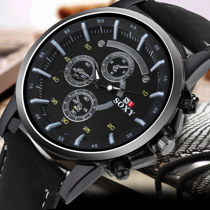 Pu Leather Watch Luxury Men Luminous Watches