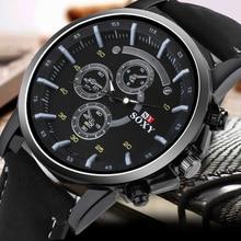 Pu Leather Watch Luxury Men Luminous Watches Analog Military Sports SOXY Watch Quartz Male Wristwatches Hour Relogio Masculino