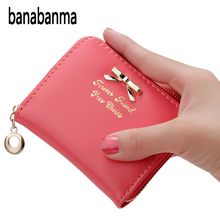 Women Wallets Simple Short-style Clutch Bag Bowknot Decoration Zipper Handbag Slim Coin Pocket Purse Fashion Card Holders ZK40(China)