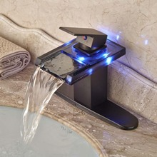 LED Color Changing Glass Waterfall Spout Bathroom Sink Faucet Basin Temperature Sense Mixer tap