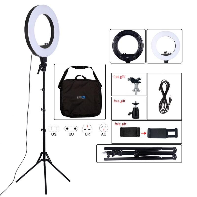 18inch photographie lumière 50W 480 pièces LED anneau lumière Stepless gradation anneau lampe caméra maquillage Photo/Studio/téléphone avec trépied support-in Éclairage photographique from Electronique    1