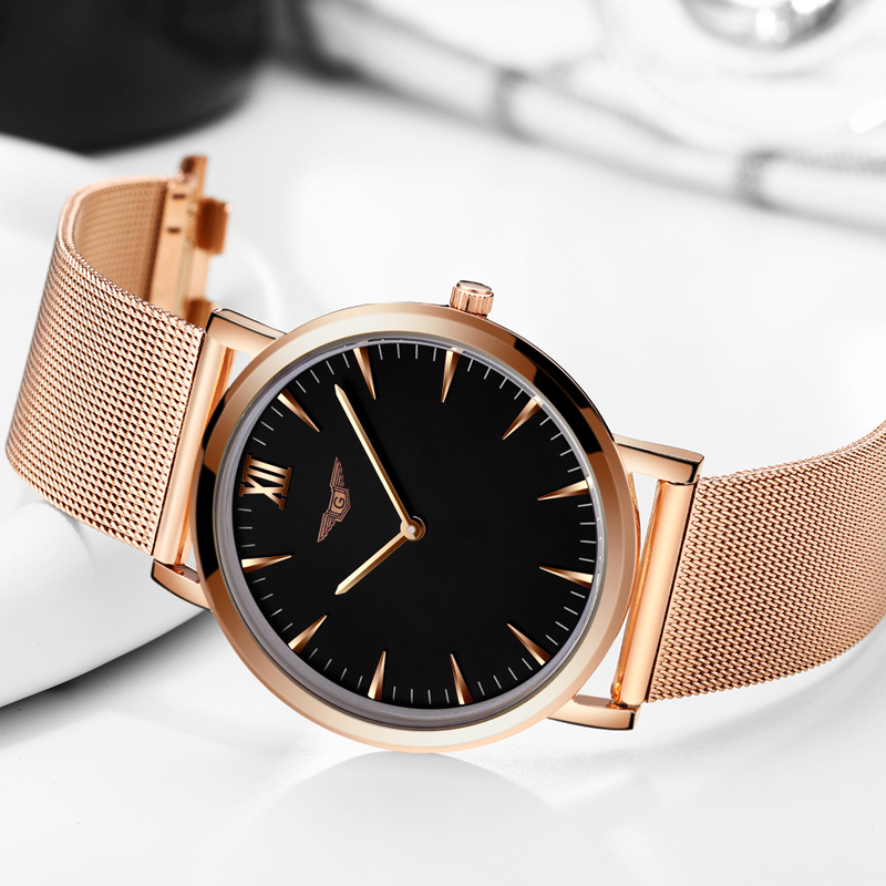 GUANQIN Mens Watches Top Brand Luxury Simple Design Ultra Thin Mesh Band Quartz Watch Men Fashion Casual Full Steel Wristwatch mens branded luxury fashion watch men automatic ultra thin gold full steel mesh watches men dress mechanical watch orologio uomo