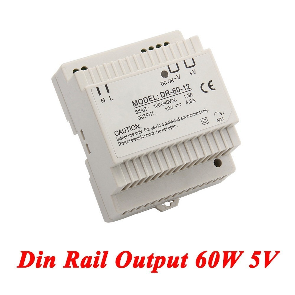 DR-60 Din Rail Power Supply 60W 5V 6.5A,Switching Power Supply AC 110v/220v Transformer To DC 5v,watt power supply ac dc dr 60 5v 60w 5vdc switching power supply din rail for led light free shipping