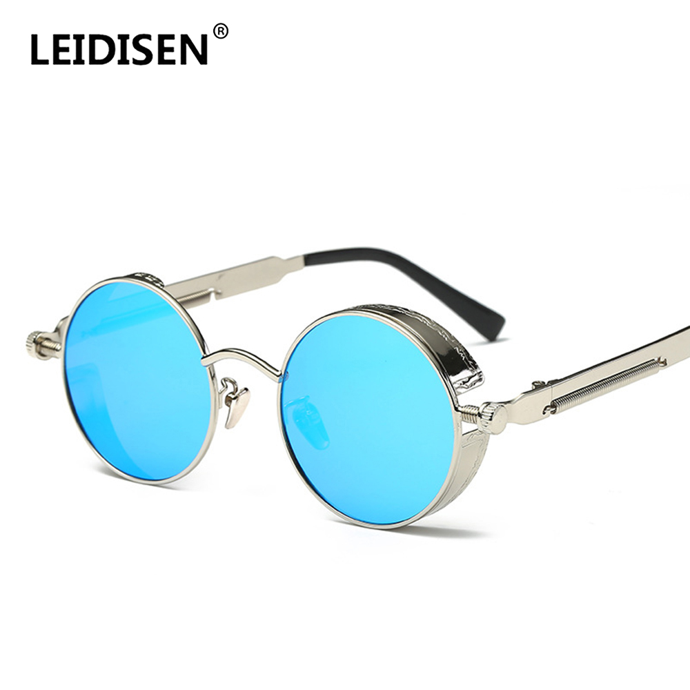 LEIDISEN Polarized Motorcycle Glasses Steampunk Retro Sunglasses Vintage Round Moto Goggles Aviator Biker Riding Driving Eyewear