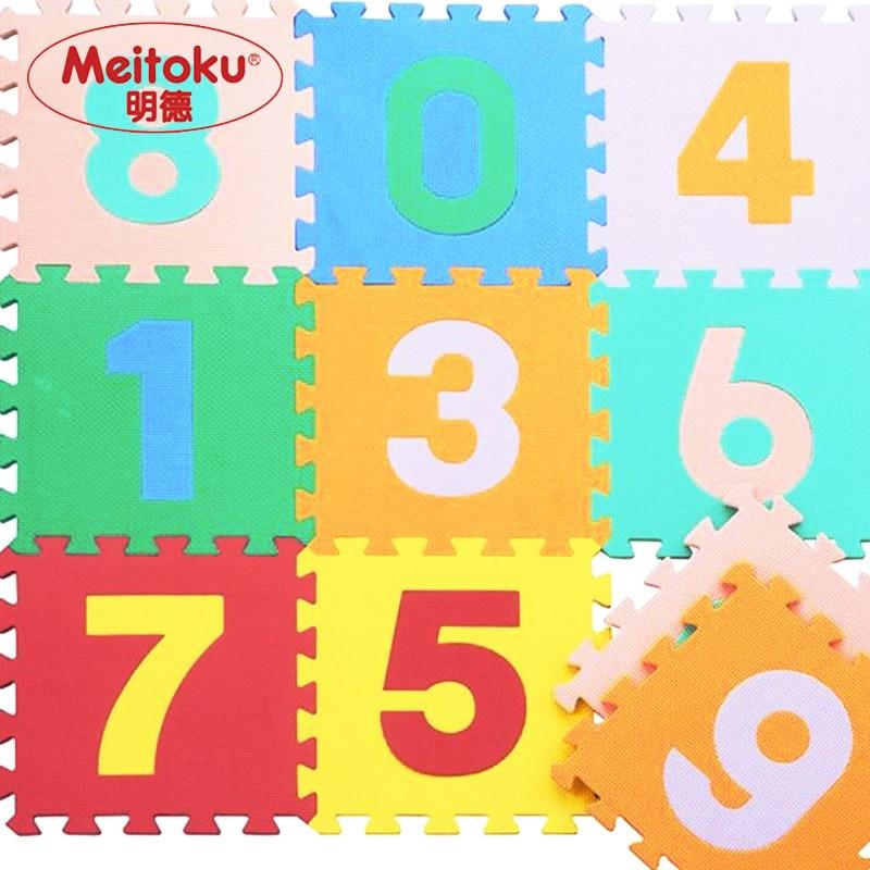"Meitoku baby EVA juego de espuma Estera de rompecabezas / Número 0 - 9 Tapete de enclavamiento, Cada 32cmX32cmX1CM = 12 ""X12"" X3 / 8 """