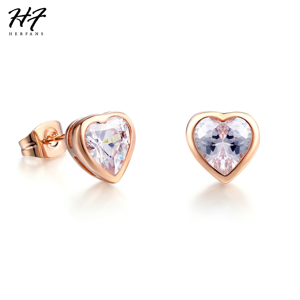 Top Quality E262 Heart Crystal Rose Gold Color Stud Earrings Jewelry for Women Austrian Crystal Wholesale
