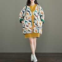 Johnature Women Sweet Trench Coat Autumn 2019 New Cotton Linen Print Animal Giraffe Soft Comfortably Hooded Single Breasted Coat