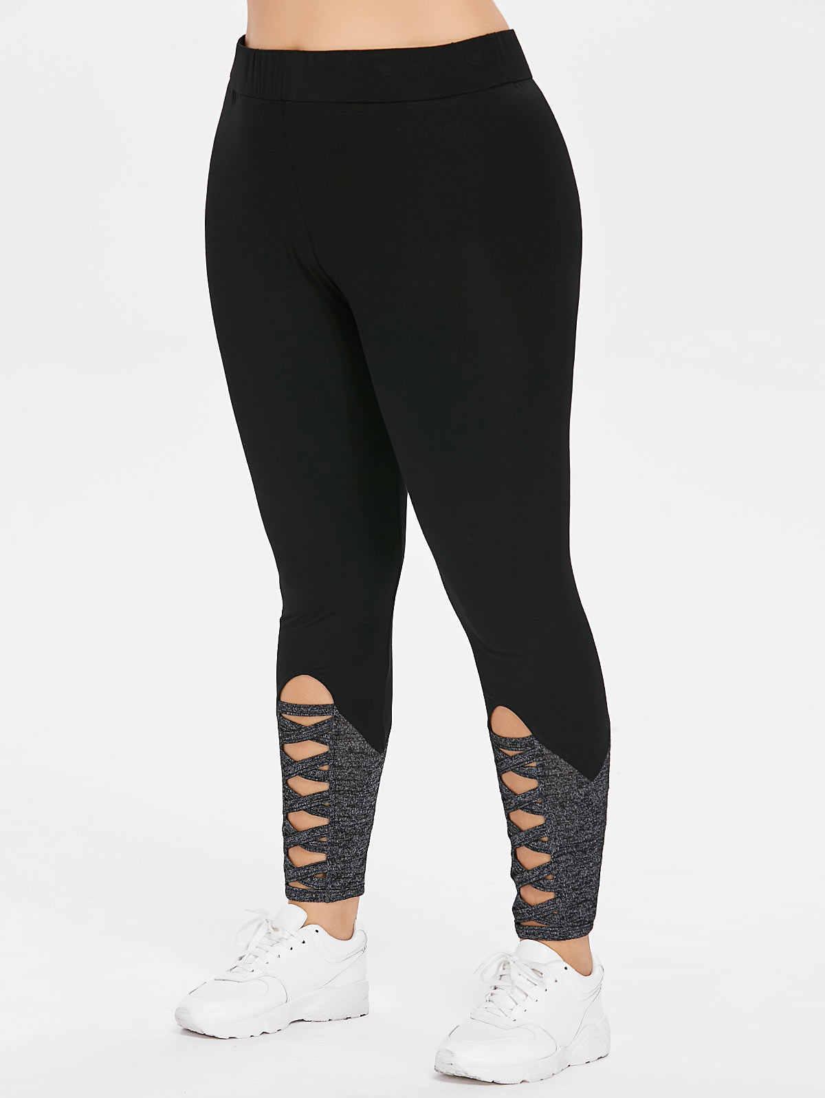 dffc4718c9 ... New Fashion Plus Size Ladder Cutout Capri Leggings Sexy Fitness Legging  Women Workout Leggings Push Up ...